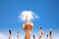 Hand touch the cloud and holding mobile phone. clo