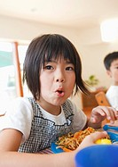 Girl eating yakisoba