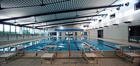 Interior view of Claremorris Swimming Pool showing 25m FINA competition standard swimming pool and roof structure, Claremorris Co  Mayo, Ireland