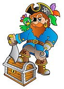 Pirate standing on treasure chest _ isolated illustration.