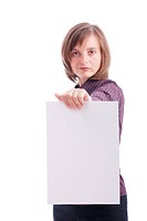 Business woman holds paper with copy space_ isolated focus on hand holding paper