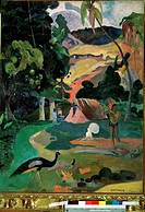 Matamoe (Death. Landscape with peacocks). Gauguin, Paul Eugéne Henri (1848-1903). Oil on canvas. Postimpressionism. 1892. State A. Pushkin Museum of F...