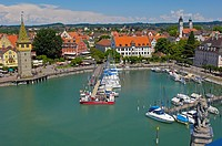 Lindau, Germany, Bavaria, Allgäu, Lake constance, Bodensee, Harbour, Mangturm tower, old lighthouse.