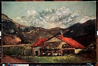 A hut in the mountains. Courbet, Gustave (1819-1877). Oil on canvas. French Painting of 19th cen. . c. 1874. State A. Pushkin Museum of Fine Arts, Mos...