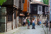 Bulgaria, Europe, Sozopol, Medieval Town, Wooden Houses, Souvenir Shops and Buildings along Apolonia Street.