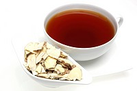 tea made of the twigs of the medicinal plant white mulberry , Morus alba , Shang Zhi