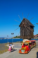 Bulgaria, Europe, Black Sea, Nessebar, Harbor, Seaport, Historical Wooden Windmill on the Isthmus, Sightseeing Train.