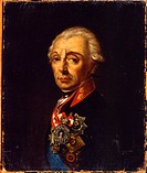 Portrait of Field Marshal Generalissimo Prince Alexander Suvorov (1729–1800). Russian master . Oil on canvas. Russian Art of 18th cen. . Late 18th cen...