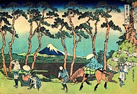Hodogaya on the Tokaido (from a Series 36 Views of Mount Fuji). Hokusai, Katsushika (1760-1849). Colour woodcut. The Oriental Arts. 1830-1833. State A...