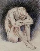 Act drawing, sitting man, head sinks. Pencil