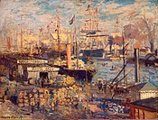 Grand Quai at Havre. Monet, Claude (1840-1926). Oil on canvas. Impressionism. 1872. State Hermitage, St. Petersburg. 61x81. Painting.