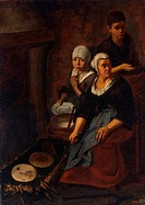 Baking of Flat Cakes. Murillo, Bartolomé Estebàn (1617-1682). Oil on canvas. Baroque. 1645-1648. State Hermitage, St. Petersburg. 164,5x120. Painting.