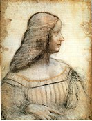 Portrait of Isabella d'Este. Leonardo da Vinci (1452-1519). Black chalk and sanguine on paper. Renaissance. 1499-1500. Louvre, Paris. 63x46. Graphic a...