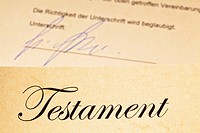The testament of a deceased person in German.Last Will and inheritance