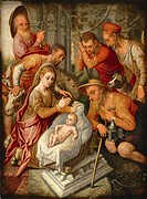 The Adoration of the Shepherds. Aertsen, Pieter (1508-1575). Oil on wood. Early Netherlandish Art. c. 1565. Private Collection. 70x52. Painting.