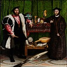 The Ambassadors (Jean de Dinteville and Georges de Selve). Holbein, Hans, the Younger (1497-1543). Oil on wood. Renaissance. 1533. National Gallery, L...