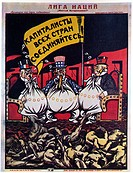 The League of Nations (Poster). Deni (Denisov), Viktor Nikolaevich (1893-1946). Colour lithograph. Soviet political agitation art. 1920. Russian State...