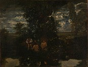 Moonlight. The Bathers. Rousseau, Théodore (1812-1867). Oil on canvas. Barbizon. 1860s. France. National Gallery, London. 52,1x67,3. Landscape. Painti...