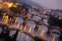 View of the bridges over the Vltava river, Prague, CZ