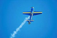 French aerobatic aircraft Mudry Cap 232 in asymmetric flight , Air show at Haguenau  ,France,  Alsace region