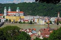 Passau, River Inn, St  Stephan Cathedral, Lower Bavaria, Bavaria, Germany, Europe,