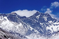 Lhotse and Nuptse mountains with the plume blowing from the summit of Everest behind them, Nepal