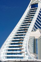 Detail of balconies in Jumeirah Beach Hotel in Dubai in United Arab Emirates