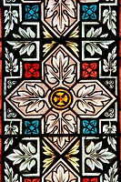 Decorative stained glass window of an ancient church