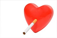 A red heart smoking a tobacco cigarette.