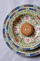 a close_up view of a mooncake in a plate
