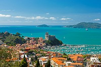 Lerici Castle and the Gulf of La Spezia, Province of La Spezia, Liguria, Italy, Europe