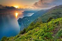 Sunset over Corniglia, Cinque Terre National Park, Province of La Spezia, Liguria, Italy, Europe