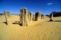 The Pinnacles Desert is contained within Nambung National Park, Western Australia. Limestone formations rise up out of the desert up to a height of 5 ...