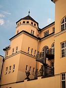 The old town elementary school in Passau, Germany is part of the church of St  Nicholas