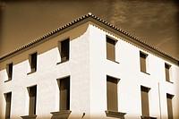 Corner of a building in El Puerto de la Selva, Gerona, Catalonia, Spain.