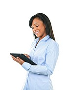 Happy woman with tablet computer