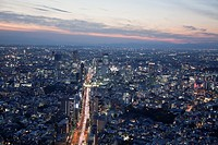 Japan-Tokyo City-Shuto Expressway through Shibuya at sunset