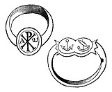 Two christian episcopal rings with symbols vintage engraving  Old engraved illustration of a bishp or archbishop ring, with the fish, dove and monogra...