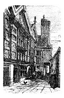 Stanley Palace, in Chester, Cheshire, United Kingdom, during the 1890s, vintage engraving  Old engraved illustration of a street scene in front of Sta...