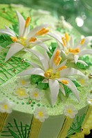 Summer cream cake decorated with flowers