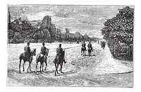 Avenue Foch or Avenue du Bois de Boulogne in Paris, France, during the 1890s, vintage engraving  Old engraved illustration of Avenue Foch with horse r...