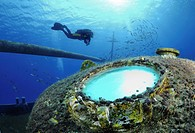 Scuba diver explores ship wreck, Grand Cayman Island, Cayman Islands, Caribbean