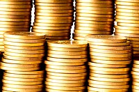 Close up of the golden coin stacks