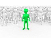 Men in crowd. Conceptual image of individuality. 3d