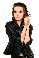 Portrait of beautiful brunette in black clothes