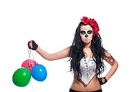 disappointed woman in dead mask with ballons