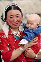 Mother and son in Kashgar  Xinjiang, China