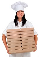 smiling cook with boxes of pizza