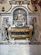 Florence Italy  Galileo´s tomb inside the Basilica of Santa Croce in the historical city of Florence