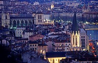 Lyon at night, Rhône. France